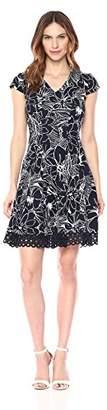 Sandra Darren Women's 1 PC Short Sleeve Color Block Knit Fit & Flare Dress