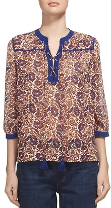 Whistles Lace-Up Print Blouse $239 thestylecure.com