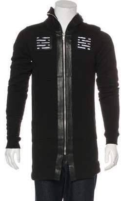 Rick Owens Leather-Trimmed Longline Full-Zip Hoodie