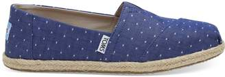 Toms Imperial Blue Dot Chambray Women's Espadrilles