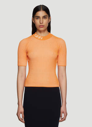 Fendi FF Logo Ribbed-Knit Top in Orange