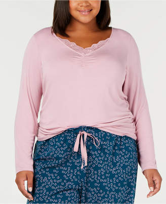 INC International Concepts I.n.c. Plus Size Lace-Trim Pajama Top