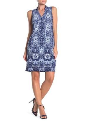 London Times Patterned Split Neck Shirt Dress