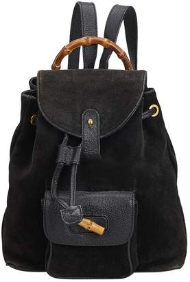 6011cd10e950 Gucci Vintage Bamboo Black Suede Backpacks