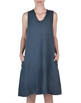 Jump Sleeveless Tie Neck Linen Dress