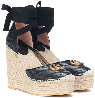 Gucci Marmont leather wedge espadrilles
