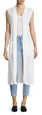 Vince Camuto Sleeveless Long Linen Cardigan