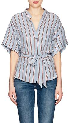 Frame Women's Striped Washed Silk Blouse