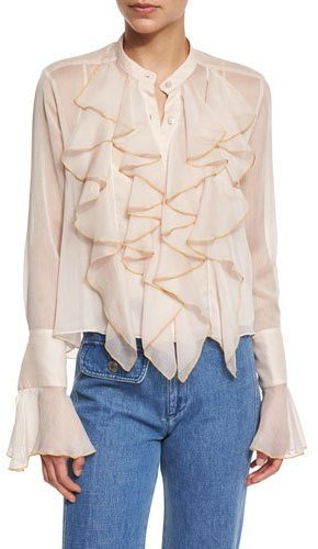 See By Chloe See by Chloe Long-Sleeve Sheer Chiffon Ruffle Blouse, Powder