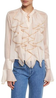 See by Chloe Long-Sleeve Sheer Chiffon Ruffle Blouse, Powder $460 thestylecure.com