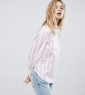 Monki Pink And White Stripe High Neck Blouse