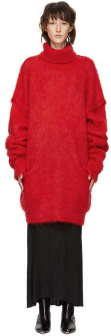 Red Knit Turtleneck Dress
