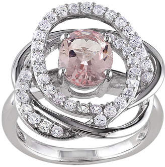 FINE JEWELRY Genuine Pink Morganite and White Sapphire Sterling Silver Ring