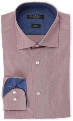 Isaac Mizrahi Red Houndstooth Slim Fit Stretch Dress Shirt