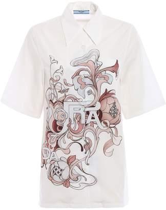 Prada Poplin Compact Peony Shirt