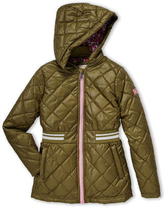 MICHAEL Michael Kors Girls 7-16) Quilted Floral Lining Hooded Jacket