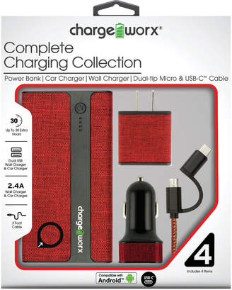 Chargeworx Red Complete Charging Collection with Dual-Tip Micro & USB-C Cable