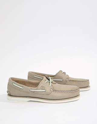 At Asos Timberland Classic Boat Shoes In Stone Leather
