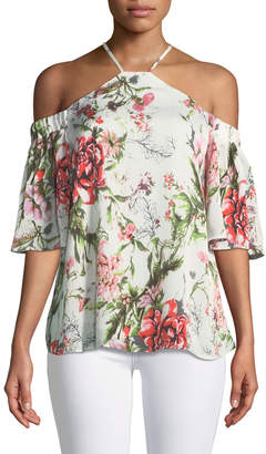 Dex Halter-Neck Cold-Shoulder Floral Blouse
