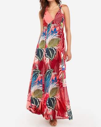 Express Floral Plunge Side Cut-Out Halter Maxi Dress