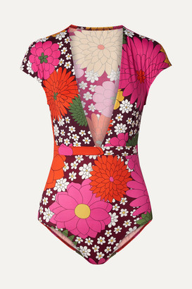Dodo Bar Or Floral-print Swimsuit - Burgundy