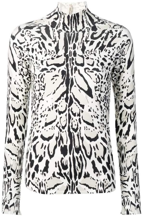 lynx-print turtleneck sweater