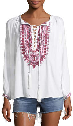 Melissa Odabash Simona Lace-Up Embroidered Top, One Size