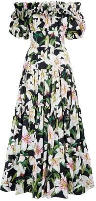 Dolce & Gabbana Cotton Lily Print Maxi Dress