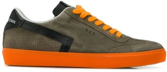 Leather Crown two tone low top sneakers