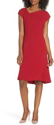 Maggy London Asymmetrical Neck Fit & Flare Dress