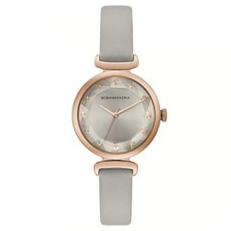 BCBGMAXAZRIA Women's Classic Silver Case Black Dial Black Strap Watch