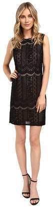 Adrianna Papell Striped Lace Shift Dress Women's Dress