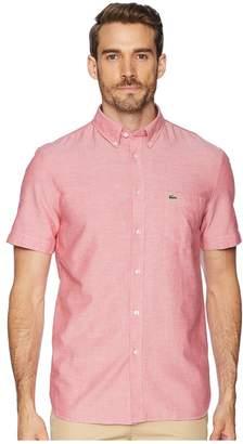 Lacoste Short Sleeve Oxford Button Down Collar Regular Men's Short Sleeve Button Up