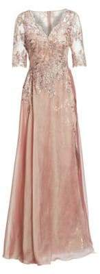 Teri Jon by Rickie Freeman Layered Chiffon& Sequin Gown