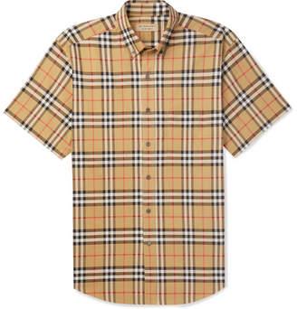 Burberry Button-down Collar Checked Cotton-poplin Shirt - Camel