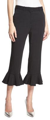 Robert Rodriguez Ruffle-Hem Cropped Flare-Leg Pants, Black $345 thestylecure.com