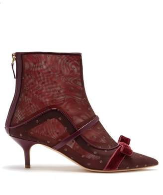 Malone Souliers Claudia Mesh And Leather Ankle Boots - Womens - Burgundy