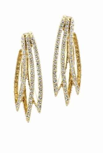 House of Harlow 1960  Gold Crystal Feather Earrings