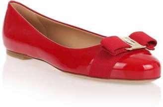 Salvatore Ferragamo Varina patent red ballerina $525 thestylecure.com