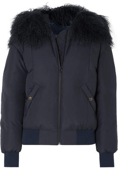 Shearling-trimmed Down Bomber Jacket - Navy