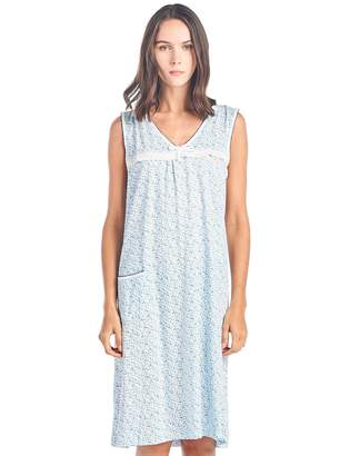 Casual Nights Women s Cotton Sleeveless Nightgown Sleep Shirt Chemise fe4f1be95