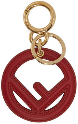 Fendi Red Leather F is Keychain