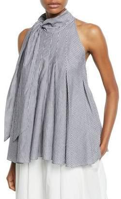 Brunello Cucinelli Tie-Neck Striped Cotton Sleeveless Blouse