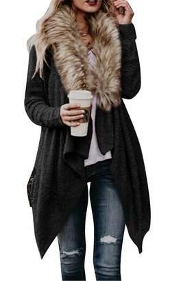 783c8df45b60 WAWAYA Womens Open Front Shawl Collar Trenchcoat Winter Warm Faux Fur  Cardigan XL