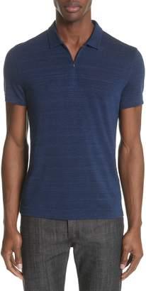 John Varvatos Stripe Zip Polo Shirt