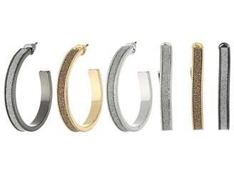 Steve Madden Glitter Hoop Trio Earrings Set