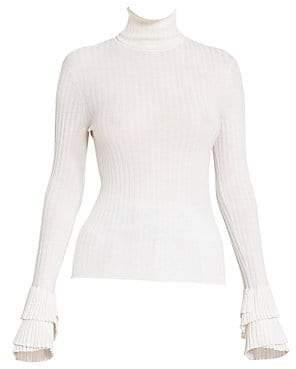 Chloé Women's Ruffle Cuff Ribbed Turtleneck Sweater