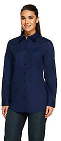 Denim & Co. Button Front Tunic Top w/ Lace BibDetail