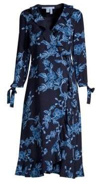 Draper James Women's Shadow Floral Wrap Dress - Navy - Size 0