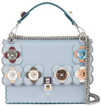Fendi Blue Floral Kan I Leather Shoulder Bag